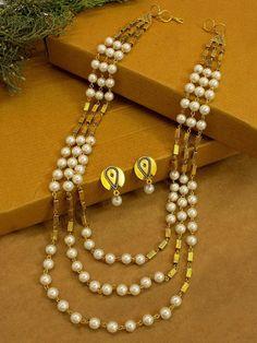 Jumkey Purple Gold Plating Three Layered Geometric Design White Agate Beads Long Necklace Set – Jumkey Fashion Jewellery Beaded Jewelry, Silver Jewelry, Handmade Jewelry, Agate Beads, Pearl Beads, Necklace Set, Necklace Lengths, Fashion Jewelry Stores, Fashion Jewellery
