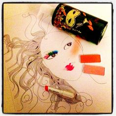 I drew this for presenting Shu Uemura products.