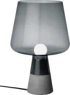 Iittala - Leimu Lamp 380x250 mm grey - Iittala.com. Leimu lighting piece combines a strong concrete base and an impressive glass lamp portion. It comes in two sizes.