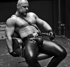 Leather gay with big penis