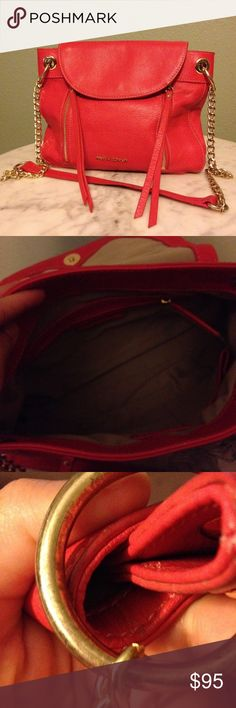 Coral Leather Purse Cynthia Rowley coral colored genuine leather purse with gold hardware. In amazing condition, other than some minimal marks on the rings (pictured). Cynthia Rowley Bags
