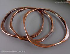 Set of 3 Heavy Geometric Stacking Solid Copper Bangle Bracelets