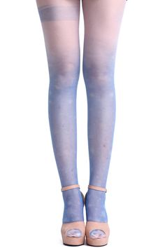 ROMWE | Striped Gradient Blue Tights, The Latest Street Fashion