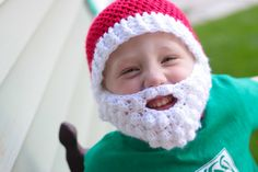 Santa Crochet Hat with Beard Photography Prop Chirstmas Prop