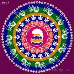 This page provides Sankranti Rangoli Designs with title Pongal Rangoli 21 for Hindu festivals. Rangoli Designs Latest, Simple Rangoli Designs Images, Rangoli Designs Flower, Rangoli Border Designs, Rangoli Designs Diwali, Rangoli Designs With Dots, Rangoli With Dots, Beautiful Rangoli Designs, Latest Rangoli