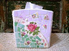 Mosaic Tissue Box With Vintage China via Etsy