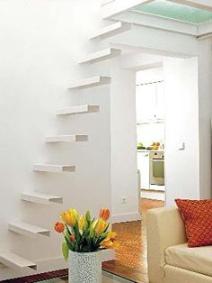 White small minimalist #stair. Think I might add a clear glass or metal hand rail. Beautiful stairs for your tiny home.