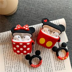 Cute Mickey Minnie Wireless Bluetooth Silicone Case For Apple Airpods Protective Cover Air Pods Earphone Cases Cartoon Key Ring Mickey Minnie Mouse, Airpods Apple, Apple Case, Accessoires Iphone, Earphone Case, Air Pods, Airpod Case, Wireless Headset, Cute Cases