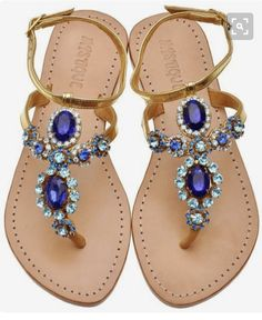 ~~~Absolutely beautiful blue and teal jewel embellished sandals. Love these! Ask for sandals just like these when you schedule your first delivery! Stitch fix spring summer trends #affiliatelink