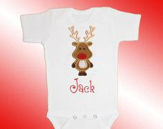 Christmas Baby Shirt Bodysuit - Personalized Applique - Reindeer - Embroidered Short or Long Sleeved