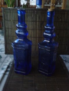 Kék borosüvegek mintás Bottle, Home Decor, Decoration Home, Room Decor, Flask, Interior Decorating