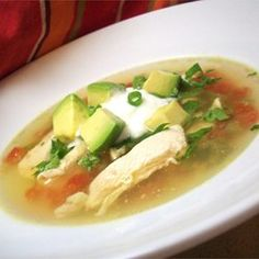 Avocado Soup with Chicken and Lime Allrecipes.com