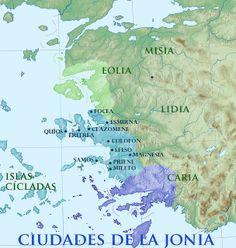 Mapa de las ciudades griegas de Jonia