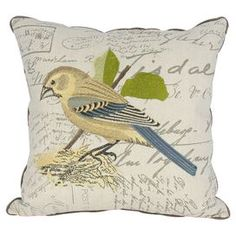 """Cotton and linen pillow with an embroidered bird motif against a script backdrop.  Product: PillowConstruction Material: Cotton and linen cover and down fillColor: MultiFeatures: Insert includedDimensions: 18"""" x 18"""""""
