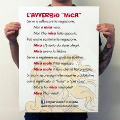"""Come si utilizza l'avverbio """"mica""""?Perfeziona il tuo italiano su www.impariamoitaliano.comE se vuoi saperne di più, guarda questo video di Sgrammaticando:"""