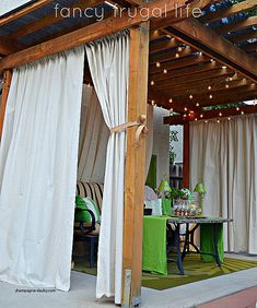 Backyard porch ideas on a budget patio makeover outdoor spaces great cabana patio makeover with diy drop cloth curtains Patio Privacy Screen, Outdoor Privacy, Outdoor Cabana, Privacy Screens, Privacy Shades, Diy Outdoor Furniture, Outdoor Rooms, Outdoor Decor, Outdoor Living