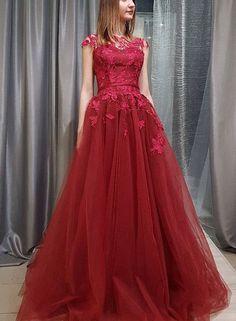 Applique Long Prom Dresses Tulle A-Line Evening Dresses Short Sleeve Formal Dresses,HS737 #fashion#promdress#eveningdress#promgowns#cocktaildress