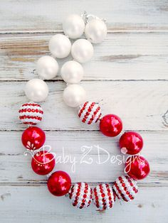 Red and White Stripe Chunky Necklace   Fits by babyzdesigns