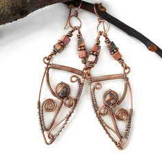 Boho earrings wire earrings bohemian earrings wire wrapped