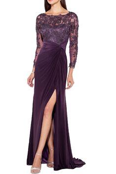 Gorgeous Bride Elegant Brautmutterkleider Lang Spitze Chiffon Tuell  Traegerlos Etui Schlitz Abendkleider Lang Ballkleider -50 4ca212d1e9
