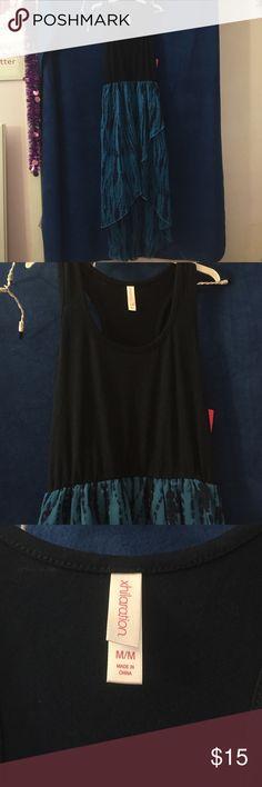 Blue tank high low dress Blue tank high low dress, medium, 100% polyester Dresses High Low