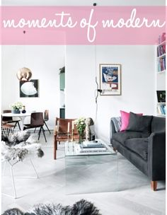 love a grey sofa, pale floors and a hint of pink