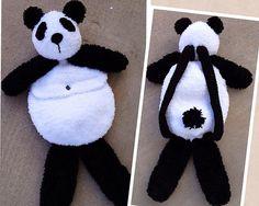 Ravelry: Parker Panda Pack pattern by Heidi Yates Crochet Gifts, Crochet Toys, Free Crochet, Crochet Backpack, Backpack Pattern, Backpack Purse, Panda Stuffed Animal, Stuffed Animal Patterns, Animal Backpacks