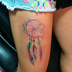 Multicolor dreamcatcher. Tattoo artist: Murat Bilek