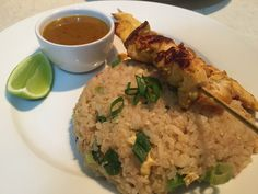 My very traditional chicken satay with homemade peanut sauce and Thai fried rice, learnt in Thailand, Thai kitchen cooking school