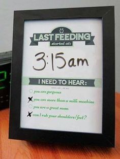 Breastfeeding dry erase frame. Keep up with your feedings and get a little something in return. Cute.