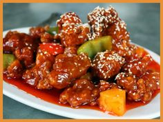 Pork in sweet and sour sauce. Real jam- I suggest you cook a very delicious dish – pork in sweet and sour sauce. This is a recipe for Chinese cuisine, it very harmoniously combines meat and vegetables with a wonderful sauce - Asian Chicken Recipes, Pork Recipes, Asian Recipes, Cooking Recipes, Healthy Recipes, Ethnic Recipes, Popular Chinese Dishes, Authentic Chinese Recipes, Chinese Food