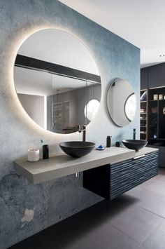 """This bathroom, open to the master suite, invites you to take care of yourself. The concrete effect wall unit combined with deep blue brings a stylish décor to the room, backed by Wall and Deco's """"wet system"""" wallpaper. Bathroom Layout, Bathroom Colors, Bathroom Interior Design, Modern Bathroom, Small Bathroom, Neutral Bathroom, Budget Bathroom, Bathroom Remodeling, Remodeling Ideas"""