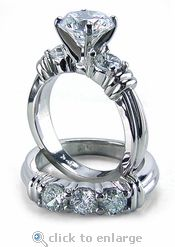 Ziamond 1.5 Carat Round Cubic Zirconia Annuci Wedding Set in 14K White Gold.