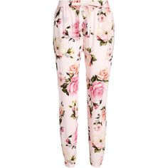 Vintage Rose Tapered Pj Pant (195 PEN) ❤ liked on Polyvore featuring pants, flower print pants, elastic waistband pants, pink floral pants, stretch waist pants and rayon pants