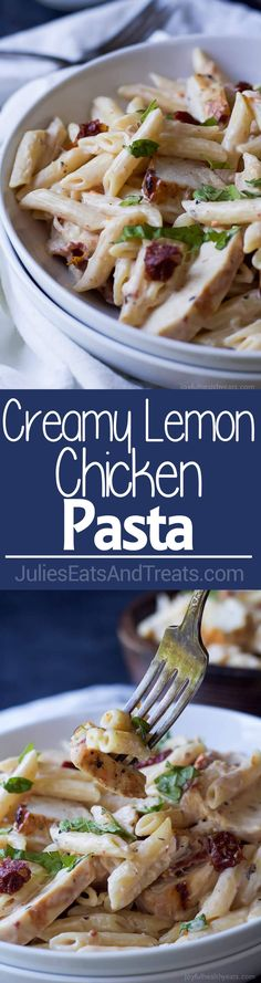 Creamy Lemon Chicken Pasta filled with fresh lemon flavor, grilled chicken, and sun dried tomatoes - only 30 minutes to make! Chicken Recipes For Kids, Chicken Pasta Recipes, Healthy Chicken Recipes, Lemon Chicken Pasta, Creamy Lemon Chicken, Grilled Chicken, Dried Tomatoes, Sun Dried, Spicy Recipes