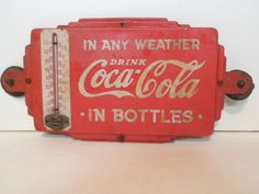 Vintage Double Sided Coca Cola Thermometer Door Sign Attic Fresh