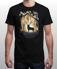 """""""Deer God"""" is today's £8/€10/$12 tee for 24 hours only on www.Qwertee.com Pin this for a chance to win a FREE TEE this weekend. Follow us on pinterest.com/qwertee for a second! Thanks:)"""