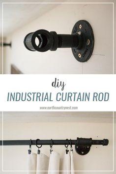 DIY industrial curtain rod / industrial decor / diy project