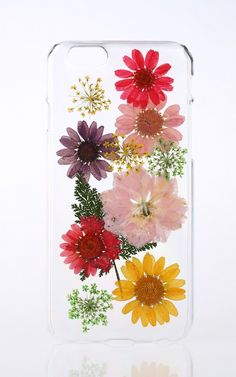 Handmade pressed flower phone case for iPhone and Samsung, made from real pressed flowers.