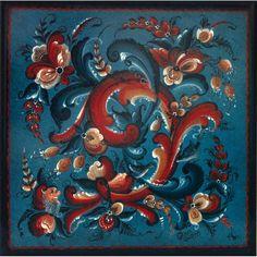 Blue Telemark Style Rosemaling Design Trivet by Gayle Oram