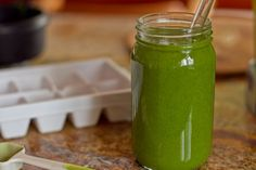 Classic Green Monster.  1 cup almond milk, or milk of choice  1 ripe banana, preferably peeled + frozen  2 handfuls organic spinach or 1 handful kale  1 tbsp chia seeds OR 1 tbsp ground flax  1 tsp Maca  1 scoop amazing grass wheat grass 1 tbsp nut butter, optional  1-3 ice cubes  protein powder of choice, optional