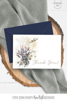 Blank Thank You Card - Printable - DIY - #rusticboho #thankyoucard #blankthankyoucard #thankyou #watercolor #florals #weddingthankyoucard #bridalshowerthankyou #showerthankyou #weddingthankyou #printable #diy Rustic Bohemian Wedding, Boho, Rainbow Birthday, Bunting Banner, Wedding Thank You, Printing Services, Floral Watercolor, Thank You Cards, Your Cards