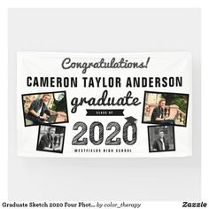 Shop Graduate Sketch 2020 Four Photo Collage Graduation Banner created by color_therapy. Graduation Yard Signs, Graduation Party Planning, Graduation Thank You Cards, College Graduation Parties, Graduation Banner, Graduation Celebration, Graduation Party Invitations, Graduation Party Decor, Graduation Gifts