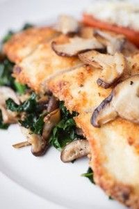 Crispy Seared Chicken Breasts with Garlicky Kale and Seared Shiitake Mushrooms, Healthy Eye Candy
