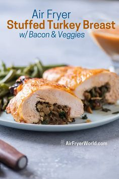 Air Fried Stuffed Turkey Breast w/ Bacon, Spinach EASY | Air Fryer World Baked Chicken Recipes, Veggie Recipes, Dinner Recipes, Air Fryer Turkey Breast Recipe, Cooking A Stuffed Turkey, Turkey Tenderloin Recipes, Kale And Spinach, Bacon Kale, Deboned Turkey