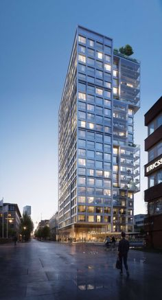"""Møller to design new """"Geysir"""" residential high-rise in Stockholm Architecture Résidentielle, Scandinavian Architecture, Architecture Visualization, Commercial Architecture, Futuristic Architecture, Chinese Architecture, Building Rendering, Building Facade, Building Design"""