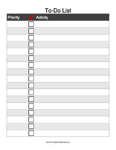 Assign a priority to your activities and check them off when complete with this Checkmark To Do List. Free to download and print