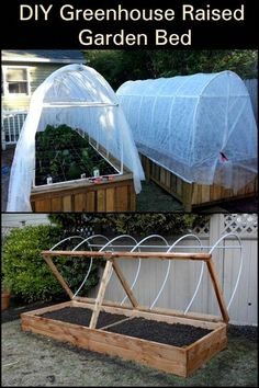 Greenhouse Raised Garden Bed : Learn the step-by-step process of building this greenhouse raised garden bed.DIY Greenhouse Raised Garden Bed : Learn the step-by-step process of building this greenhouse raised garden bed. Building A Raised Garden, Raised Garden Beds, Raised Beds, Small Greenhouse, Greenhouse Plans, Porch Greenhouse, Greenhouse Wedding, Portable Greenhouse, Pallet Greenhouse