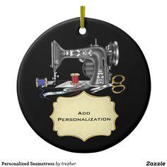 Personalized Seamstress Ceramic Ornament