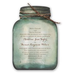 country canning jar wedding invitation - watercolor | rustic wedding invites at Invitations By Dawn